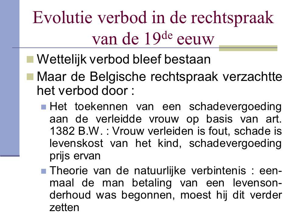 Evolutie verbod in de rechtspraak van de 19 de eeuw Wettelijk verbod bleef bestaan Maar de Belgische rechtspraak verzachtte het verbod door : Het toek