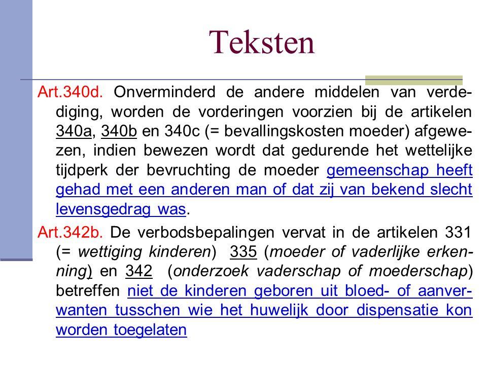 Teksten Art.340d. Onverminderd de andere middelen van verde- diging, worden de vorderingen voorzien bij de artikelen 340a, 340b en 340c (= bevallingsk