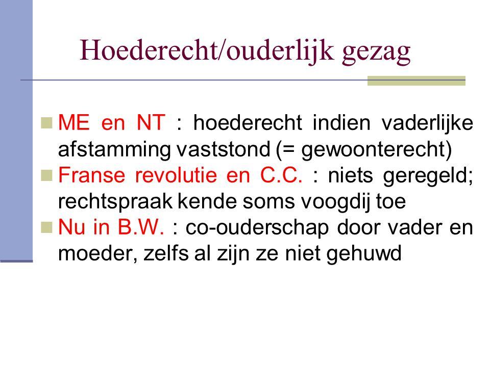 Hoederecht/ouderlijk gezag ME en NT : hoederecht indien vaderlijke afstamming vaststond (= gewoonterecht) Franse revolutie en C.C. : niets geregeld; r