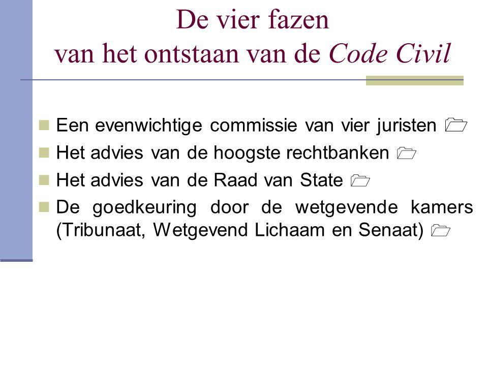 De vier fazen van het ontstaan van de Code Civil Een evenwichtige commissie van vier juristen  Het advies van de hoogste rechtbanken  Het advies van