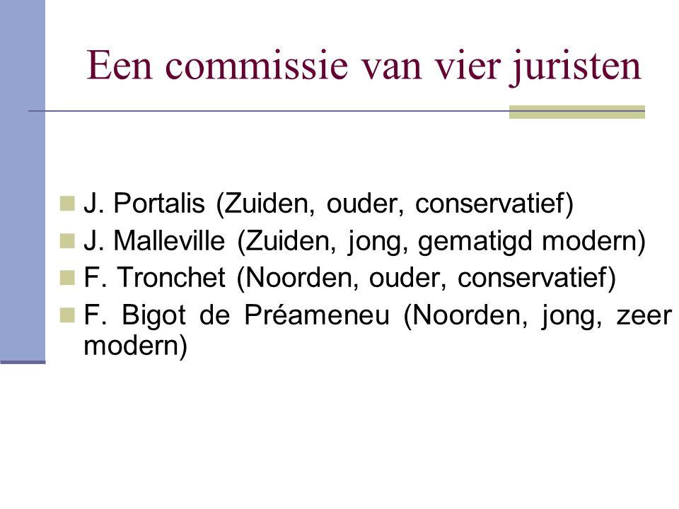 Een commissie van vier juristen J. Portalis (Zuiden, ouder, conservatief) J. Malleville (Zuiden, jong, gematigd modern) F. Tronchet (Noorden, ouder, c