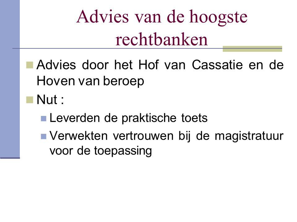 Advies van de hoogste rechtbanken Advies door het Hof van Cassatie en de Hoven van beroep Nut : Leverden de praktische toets Verwekten vertrouwen bij
