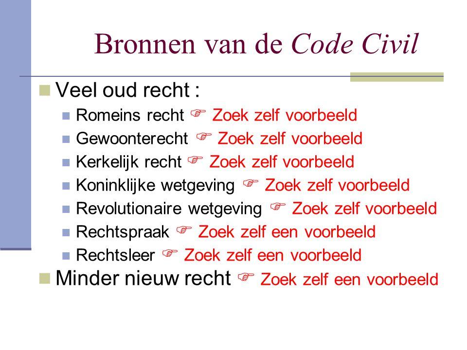 Bronnen van de Code Civil Veel oud recht : Romeins recht  Zoek zelf voorbeeld Gewoonterecht  Zoek zelf voorbeeld Kerkelijk recht  Zoek zelf voorbee