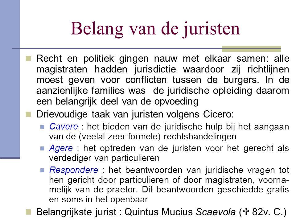 Belang van de juristen Recht en politiek gingen nauw met elkaar samen: alle magistraten hadden jurisdictie waardoor zij richtlijnen moest geven voor c