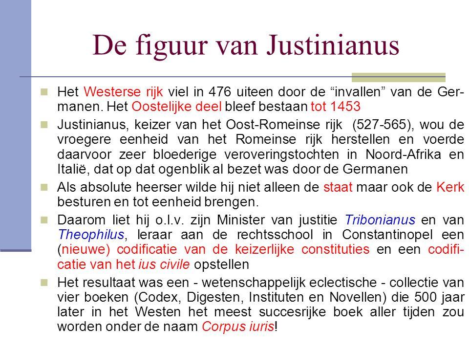 """De figuur van Justinianus Het Westerse rijk viel in 476 uiteen door de """"invallen"""" van de Ger- manen. Het Oostelijke deel bleef bestaan tot 1453 Justin"""
