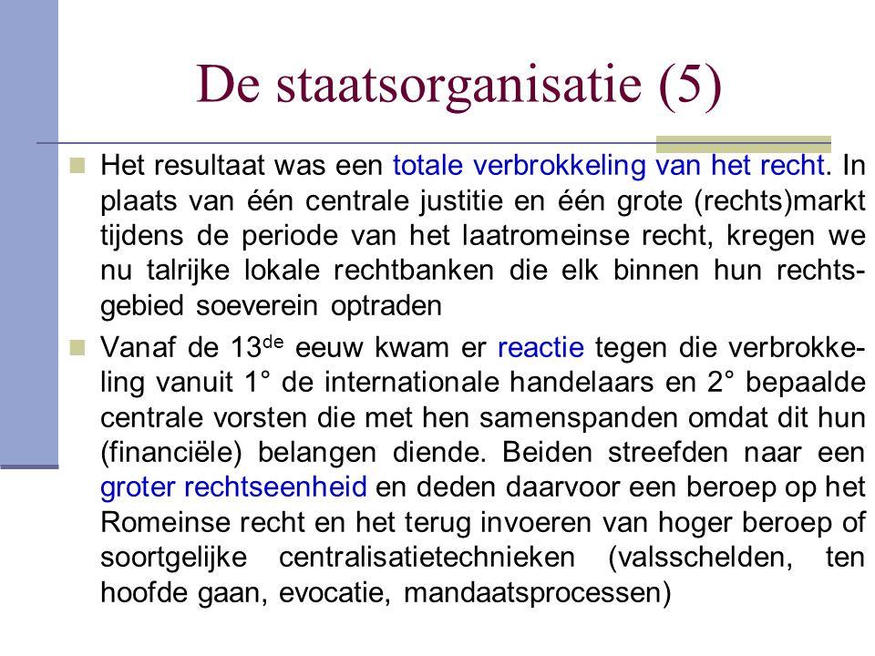 De staatsorganisatie (5) Het resultaat was een totale verbrokkeling van het recht. In plaats van één centrale justitie en één grote (rechts)markt tijd