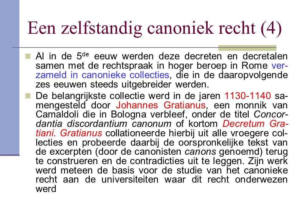Een zelfstandig canoniek recht (4) Al in de 5 de eeuw werden deze decreten en decretalen samen met de rechtspraak in hoger beroep in Rome ver- zameld