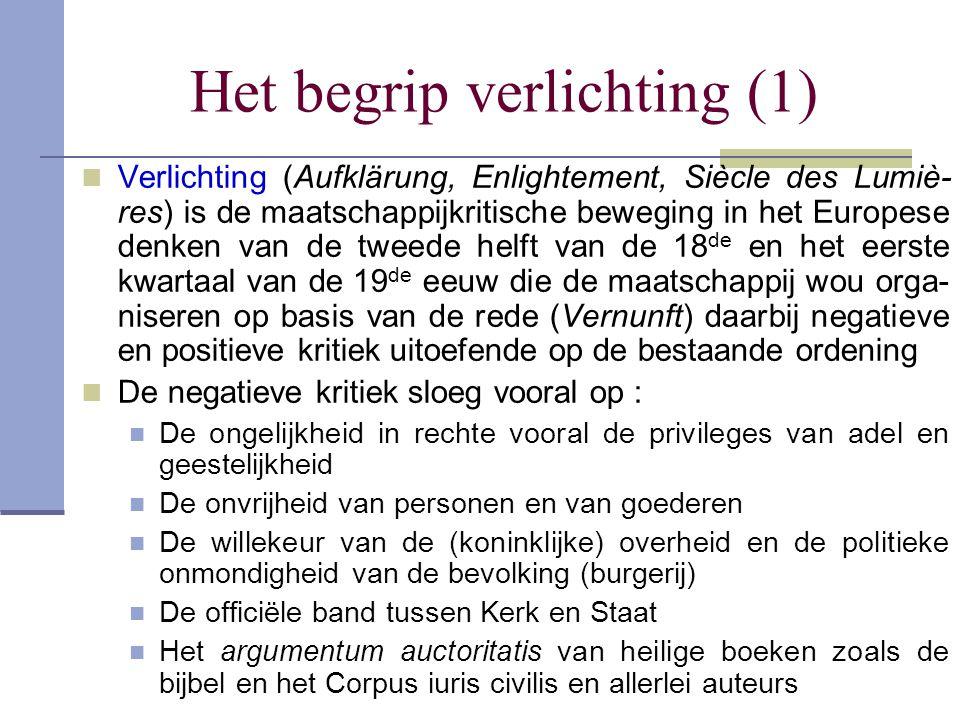 Het begrip verlichting (1) Verlichting (Aufklärung, Enlightement, Siècle des Lumiè- res) is de maatschappijkritische beweging in het Europese denken v