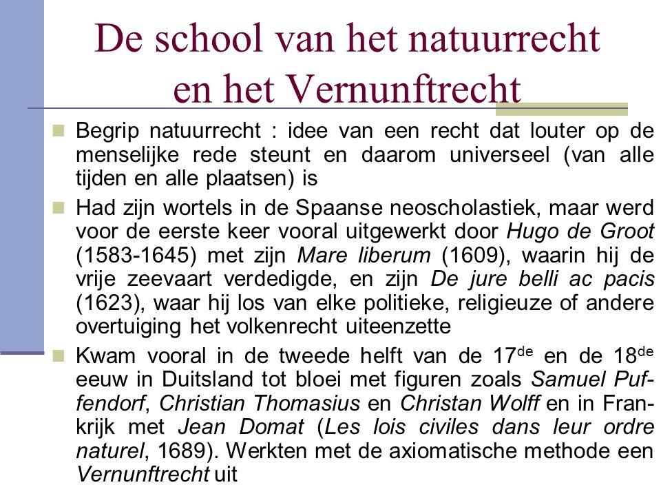 De school van het natuurrecht en het Vernunftrecht Begrip natuurrecht : idee van een recht dat louter op de menselijke rede steunt en daarom universee