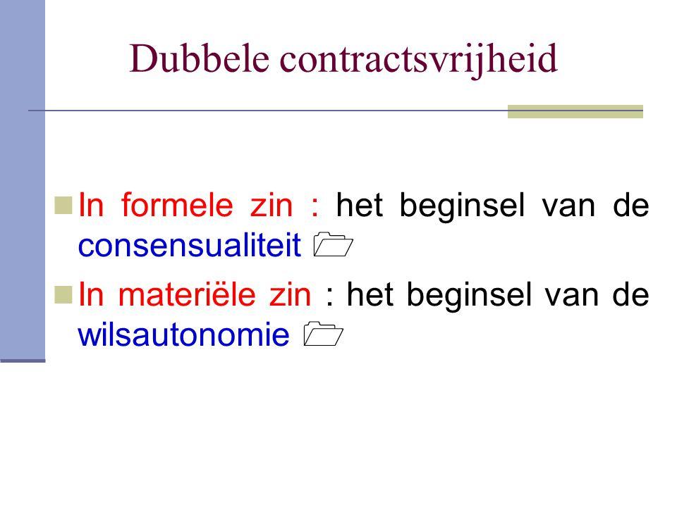 Dubbele contractsvrijheid In formele zin : het beginsel van de consensualiteit  In materiële zin : het beginsel van de wilsautonomie 