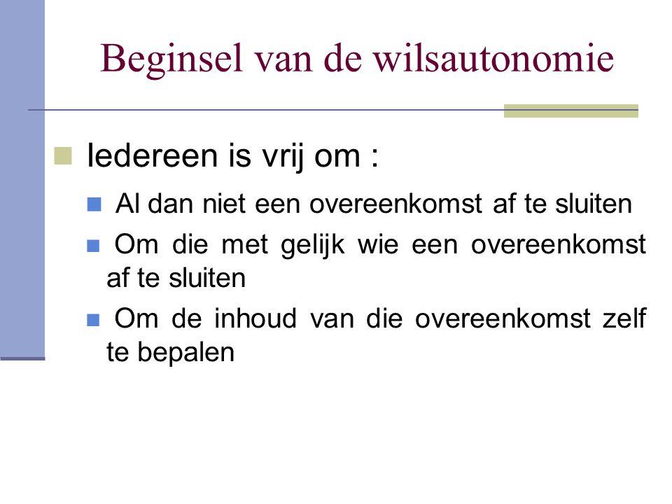 Beginsel van de wilsautonomie Iedereen is vrij om : Al dan niet een overeenkomst af te sluiten Om die met gelijk wie een overeenkomst af te sluiten Om