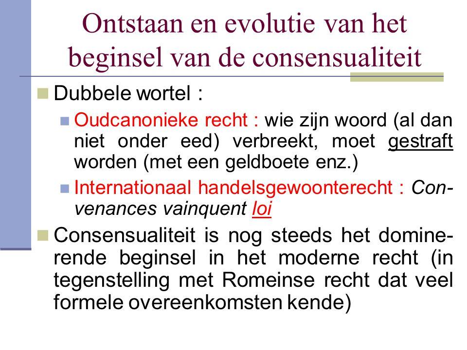 Ontstaan en evolutie van het beginsel van de consensualiteit Dubbele wortel : Oudcanonieke recht : wie zijn woord (al dan niet onder eed) verbreekt, m