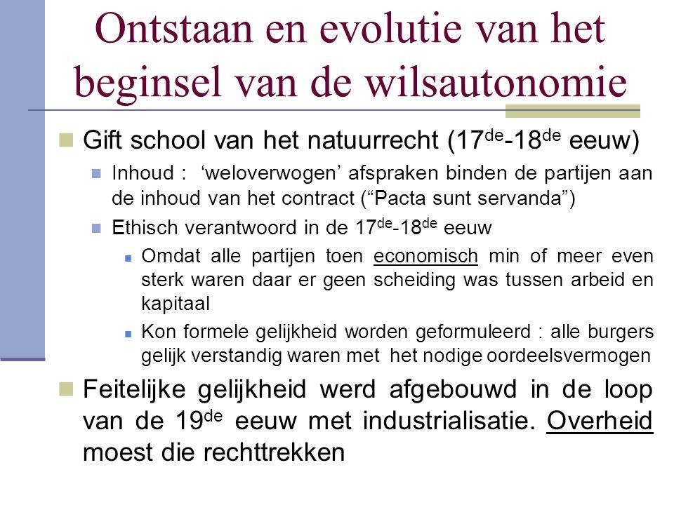 Ontstaan en evolutie van het beginsel van de wilsautonomie Gift school van het natuurrecht (17 de -18 de eeuw) Inhoud : 'weloverwogen' afspraken binde
