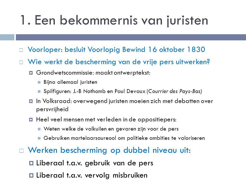 1. Een bekommernis van juristen  Voorloper: besluit Voorlopig Bewind 16 oktober 1830  Wie werkt de bescherming van de vrije pers uitwerken?  Grondw