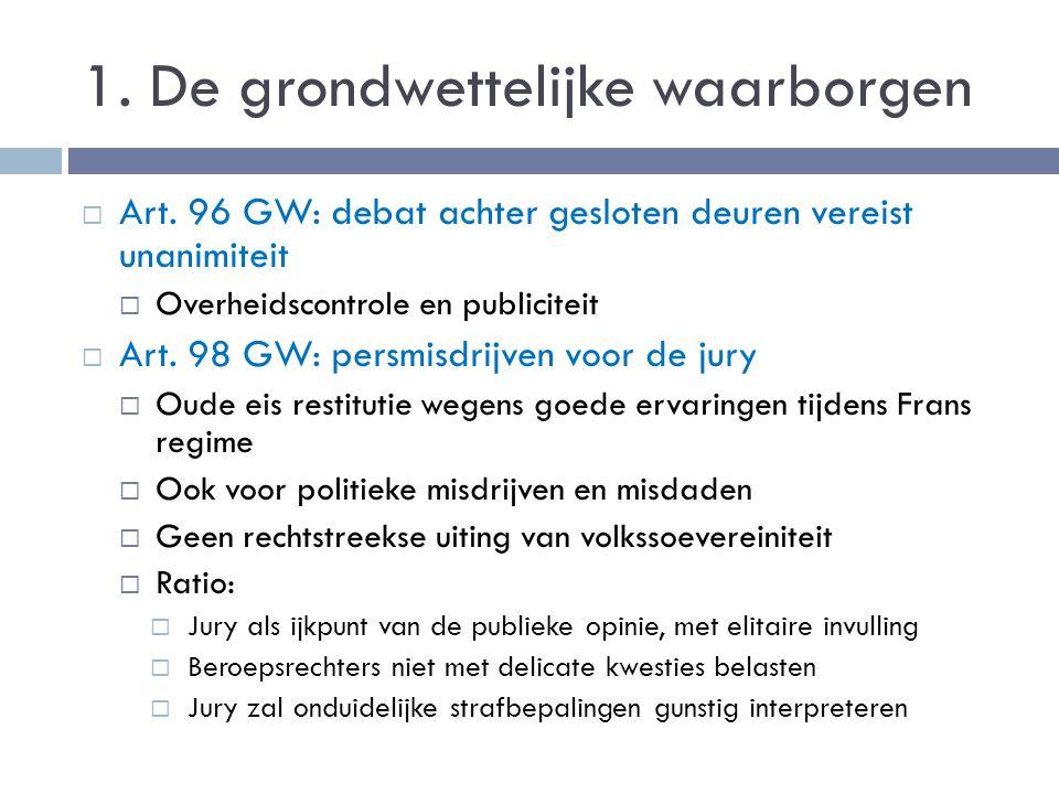 1. De grondwettelijke waarborgen  Art. 96 GW: debat achter gesloten deuren vereist unanimiteit  Overheidscontrole en publiciteit  Art. 98 GW: persm
