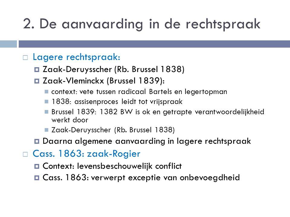 2. De aanvaarding in de rechtspraak  Lagere rechtspraak:  Zaak-Deruysscher (Rb. Brussel 1838)  Zaak-Vleminckx (Brussel 1839): context: vete tussen