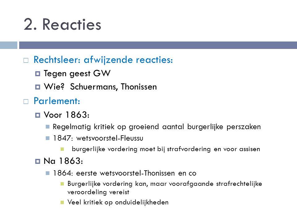 2. Reacties  Rechtsleer: afwijzende reacties:  Tegen geest GW  Wie? Schuermans, Thonissen  Parlement:  Voor 1863: Regelmatig kritiek op groeiend