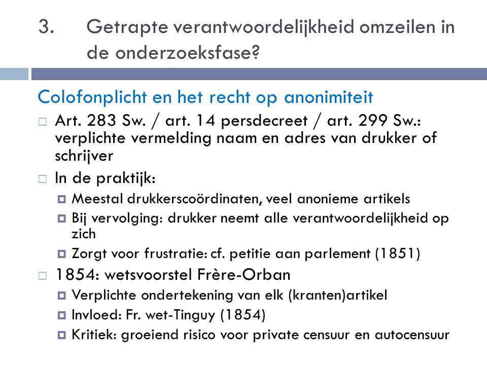 3. Getrapte verantwoordelijkheid omzeilen in de onderzoeksfase? Colofonplicht en het recht op anonimiteit  Art. 283 Sw. / art. 14 persdecreet / art.