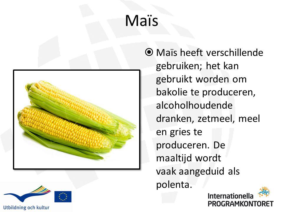 Maïs  Maïs heeft verschillende gebruiken; het kan gebruikt worden om bakolie te produceren, alcoholhoudende dranken, zetmeel, meel en gries te produceren.