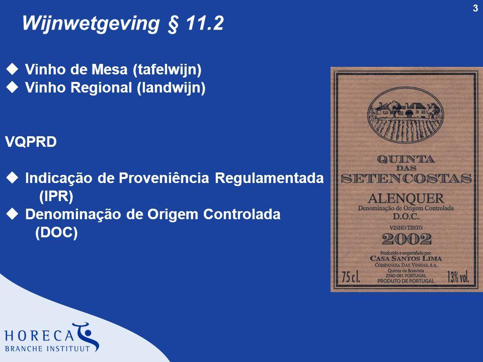 3 Wijnwetgeving § 11.2 uVinho de Mesa (tafelwijn) uVinho Regional (landwijn) VQPRD uIndicação de Proveniência Regulamentada (IPR) uDenominação de Origem Controlada (DOC)