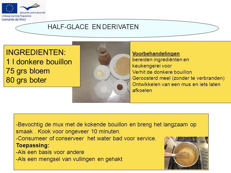 HALF-GLACE EN DERIVATEN -Bevochtig de mux met de kokende bouillon en breng het langzaam op smaak. Kook voor ongeveer 10 minuten. -Consumeer of conserv