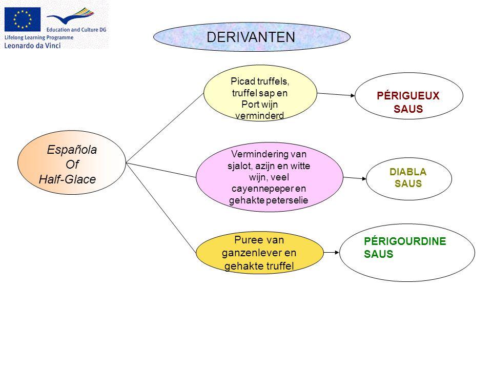DERIVANTEN Española Of Half-Glace Picad truffels, truffel sap en Port wijn verminderd Vermindering van sjalot, azijn en witte wijn, veel cayennepeper
