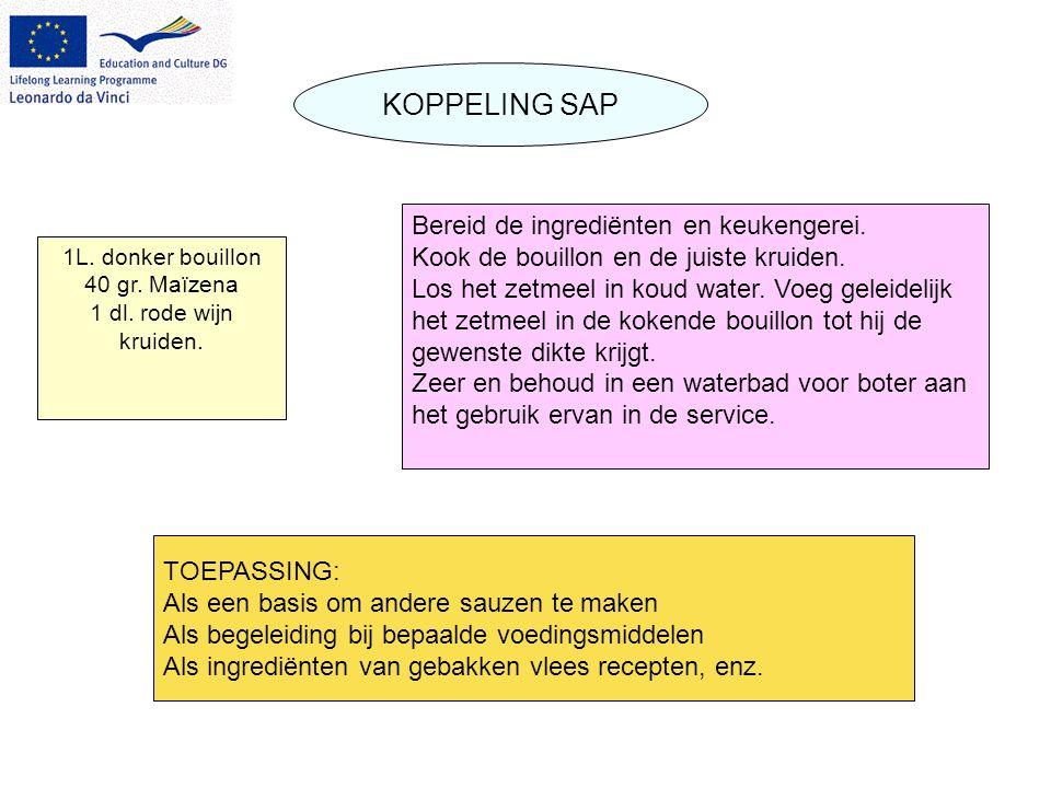 KOPPELING SAP 1L. donker bouillon 40 gr. Maïzena 1 dl.