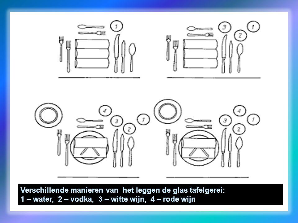 Verschillende manieren van het leggen de glas tafelgerei: 1 – water, 2 – vodka, 3 – witte wijn, 4 – rode wijn