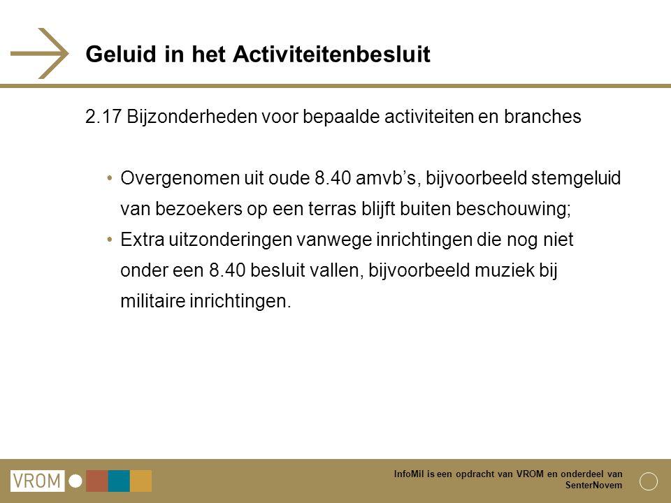 InfoMil is een opdracht van VROM en onderdeel van SenterNovem Geluid in het Activiteitenbesluit 2.17 Bijzonderheden voor bepaalde activiteiten en bran