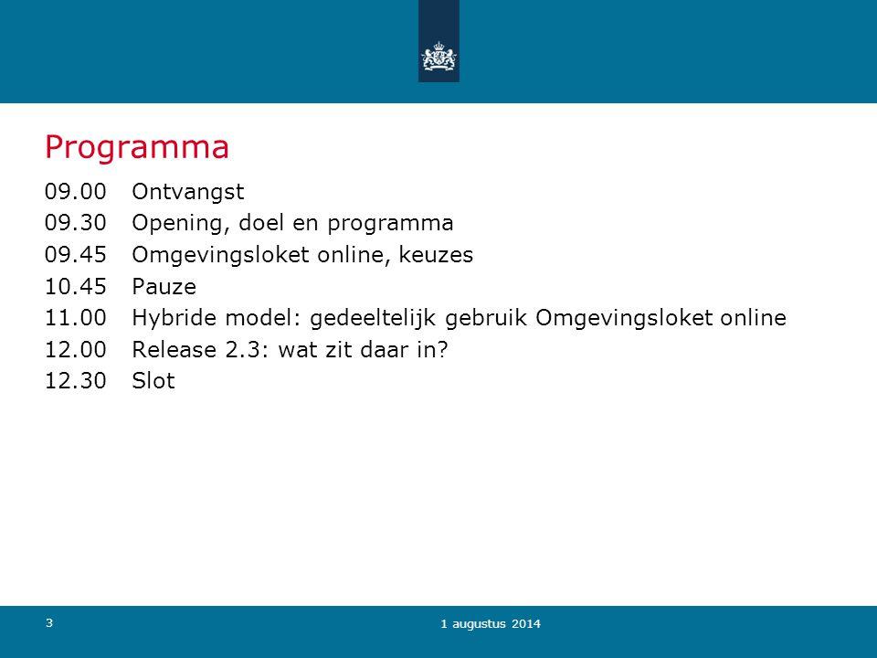 34 1 augustus 2014 Omgevingsloket online D Eigen systeem I: interactie met systeem U: documenten uploaden M: e-mailbericht I U M I U M I M U I U MM Eigen vergunningsysteem én behandeldossier