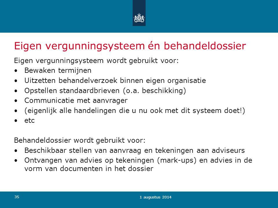 35 Eigen vergunningsysteem én behandeldossier Eigen vergunningsysteem wordt gebruikt voor: Bewaken termijnen Uitzetten behandelverzoek binnen eigen organisatie Opstellen standaardbrieven (o.a.