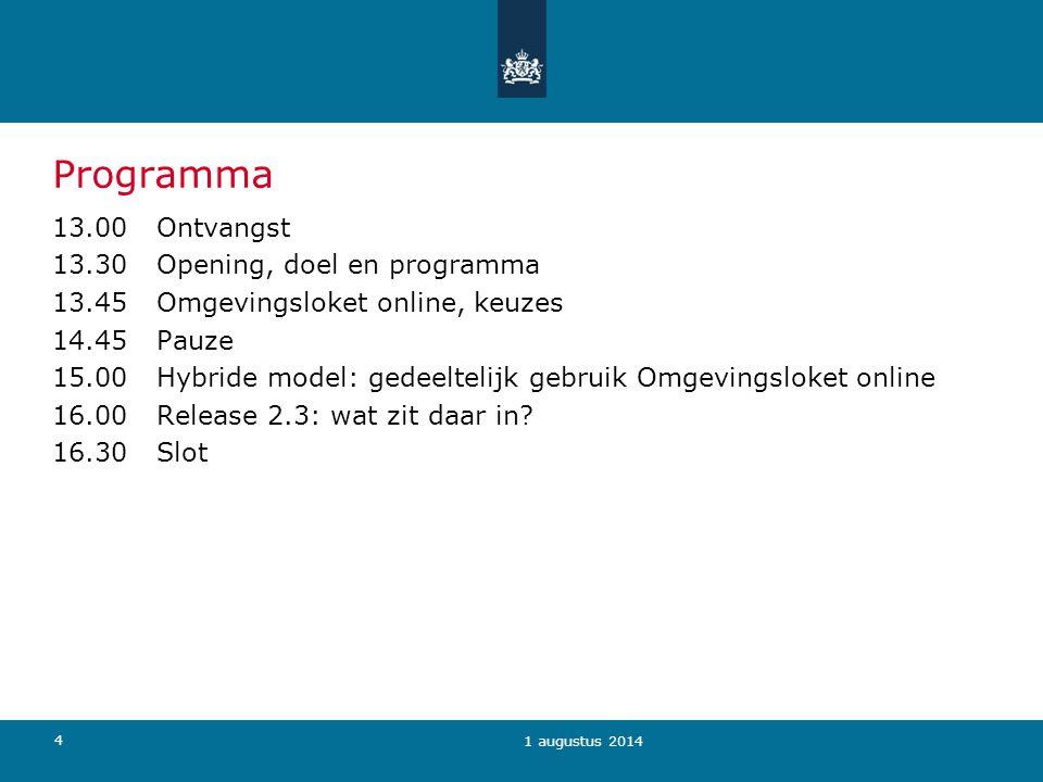 4 Programma 13.00 Ontvangst 13.30 Opening, doel en programma 13.45 Omgevingsloket online, keuzes 14.45 Pauze 15.00Hybride model: gedeeltelijk gebruik