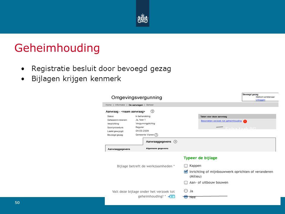 50 Geheimhouding Registratie besluit door bevoegd gezag Bijlagen krijgen kenmerk Extra taak BG Optie tbv aanvrager