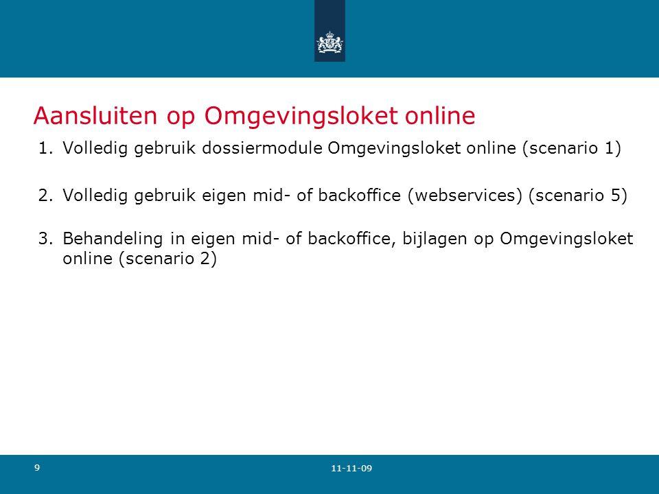 9 Aansluiten op Omgevingsloket online 1.Volledig gebruik dossiermodule Omgevingsloket online (scenario 1) 2.Volledig gebruik eigen mid- of backoffice