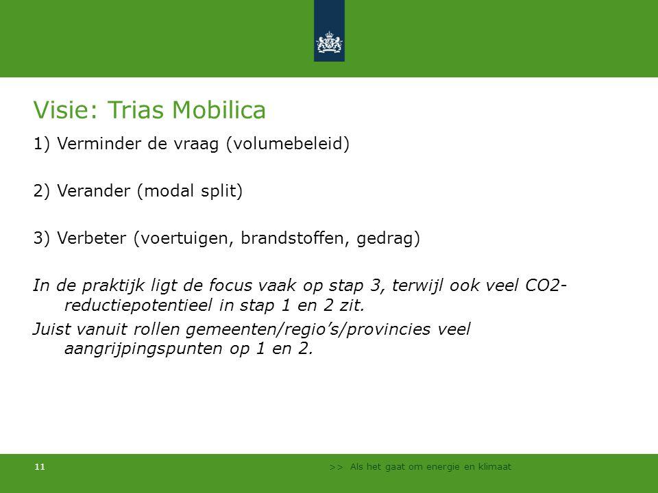 >> Als het gaat om energie en klimaat 11 Visie: Trias Mobilica 1) Verminder de vraag (volumebeleid) 2) Verander (modal split) 3) Verbeter (voertuigen,