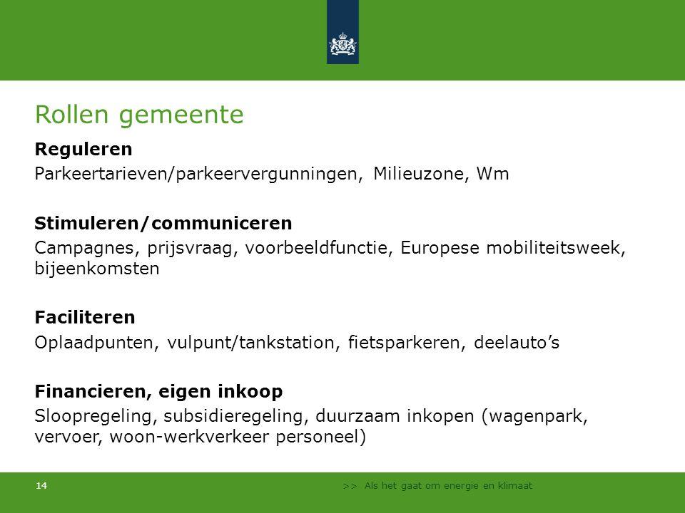 >> Als het gaat om energie en klimaat 14 Rollen gemeente Reguleren Parkeertarieven/parkeervergunningen, Milieuzone, Wm Stimuleren/communiceren Campagn