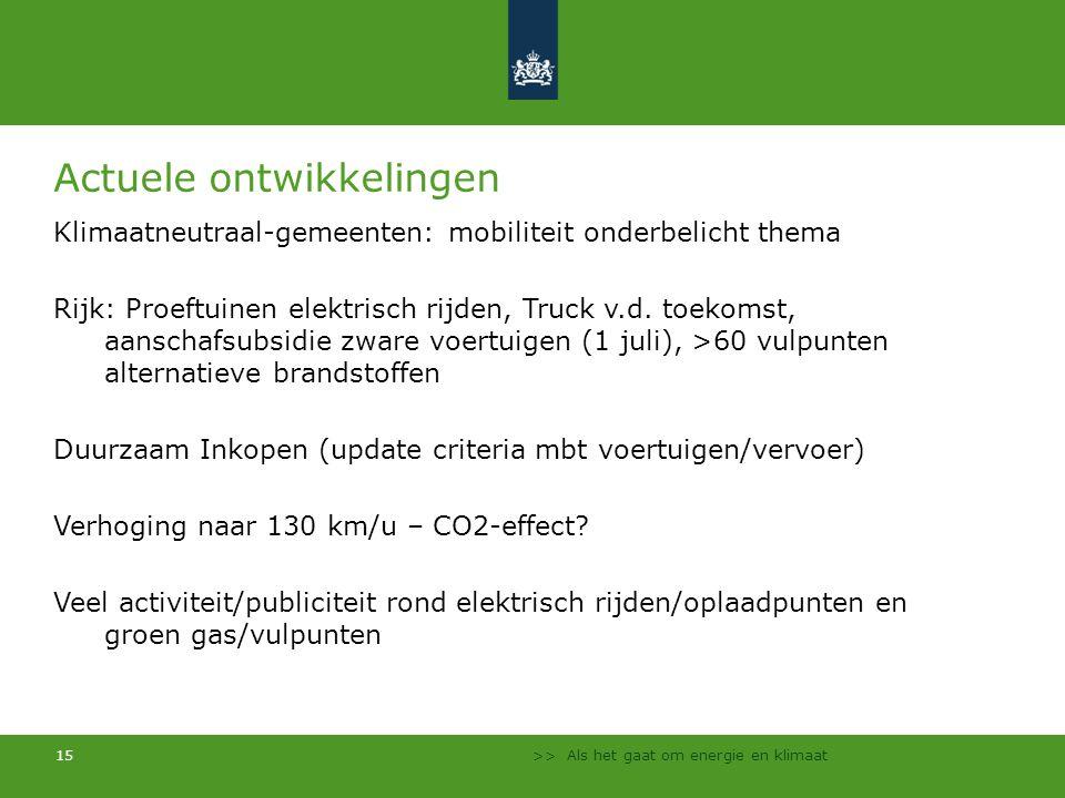 >> Als het gaat om energie en klimaat 15 Actuele ontwikkelingen Klimaatneutraal-gemeenten: mobiliteit onderbelicht thema Rijk: Proeftuinen elektrisch