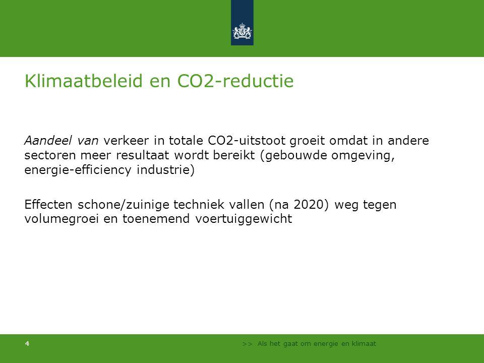 >> Als het gaat om energie en klimaat 4 Klimaatbeleid en CO2-reductie Aandeel van verkeer in totale CO2-uitstoot groeit omdat in andere sectoren meer