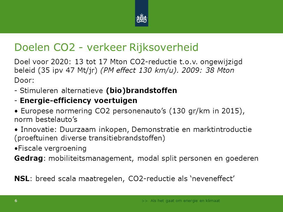 >> Als het gaat om energie en klimaat 6 Doelen CO2 - verkeer Rijksoverheid Doel voor 2020: 13 tot 17 Mton CO2-reductie t.o.v. ongewijzigd beleid (35 i