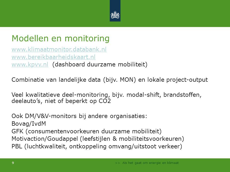 >> Als het gaat om energie en klimaat 9 Modellen en monitoring www.klimaatmonitor.databank.nl www.bereikbaarheidskaart.nl www.kpvv.nlwww.kpvv.nl (dash