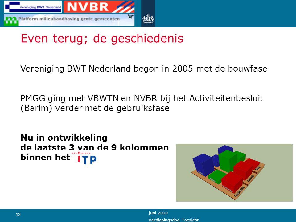 12 juni 2010 Verdiepingsdag Toezicht Even terug; de geschiedenis Vereniging BWT Nederland begon in 2005 met de bouwfase PMGG ging met VBWTN en NVBR bi