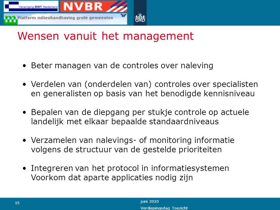 15 juni 2010 Verdiepingsdag Toezicht Beter managen van de controles over naleving Verdelen van (onderdelen van) controles over specialisten en general