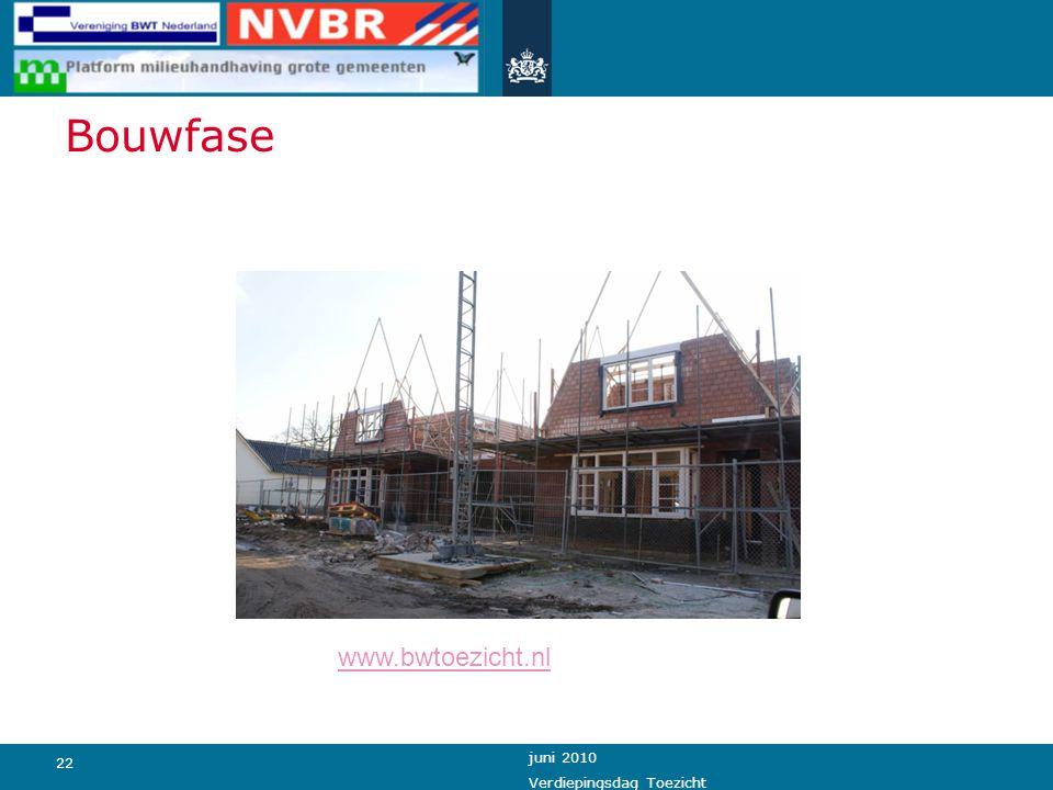 22 juni 2010 Verdiepingsdag Toezicht Bouwfase www.bwtoezicht.nl