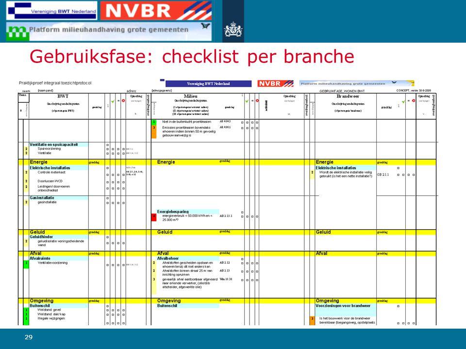 29 Gebruiksfase: checklist per branche