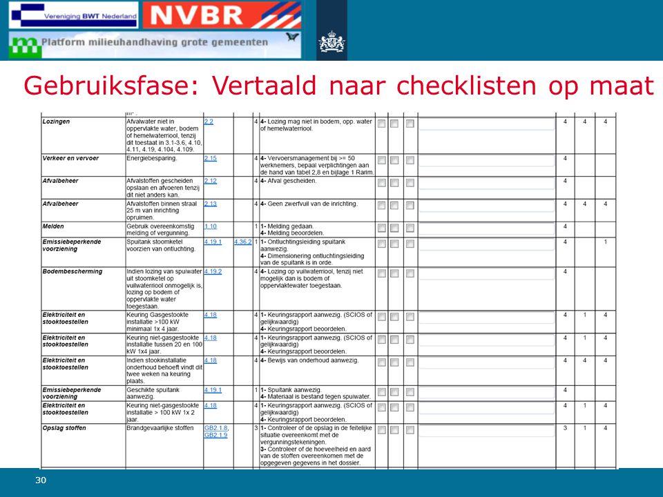 30 Gebruiksfase: Vertaald naar checklisten op maat