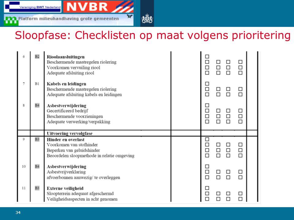 34 Sloopfase: Checklisten op maat volgens prioritering
