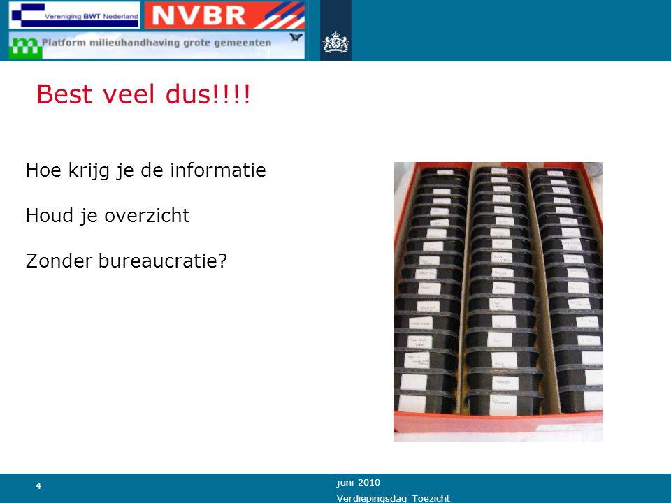 4 juni 2010 Verdiepingsdag Toezicht Best veel dus!!!! Hoe krijg je de informatie Houd je overzicht Zonder bureaucratie?