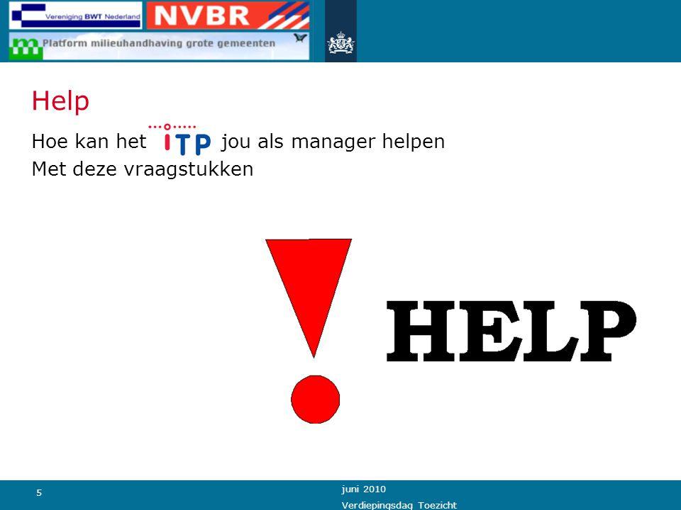 5 juni 2010 Verdiepingsdag Toezicht Help Hoe kan het iTP jou als manager helpen Met deze vraagstukken