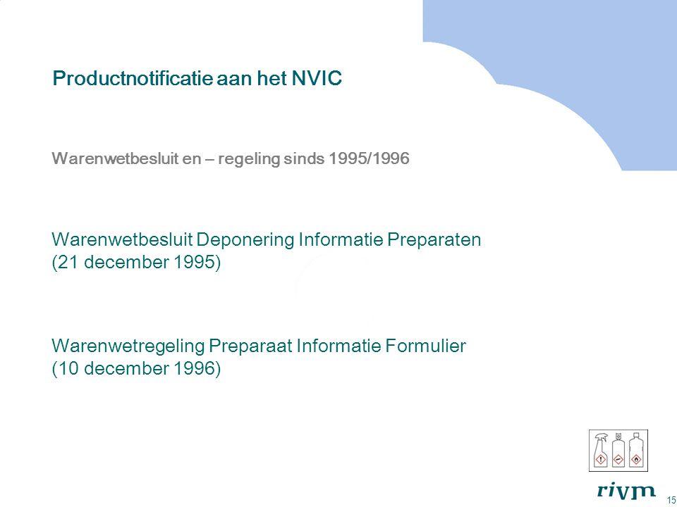 15 Productnotificatie aan het NVIC Warenwetbesluit en – regeling sinds 1995/1996 Warenwetbesluit Deponering Informatie Preparaten (21 december 1995) W