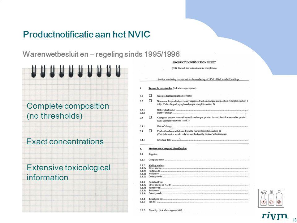 16 Productnotificatie aan het NVIC Warenwetbesluit en – regeling sinds 1995/1996 Complete composition (no thresholds) Exact concentrations Extensive t